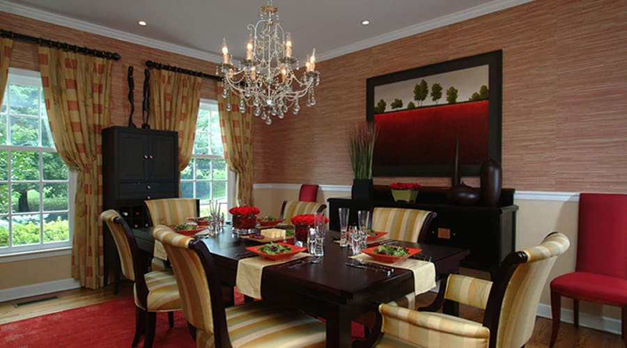 Line dining room replete with highend furnishings and custom touches